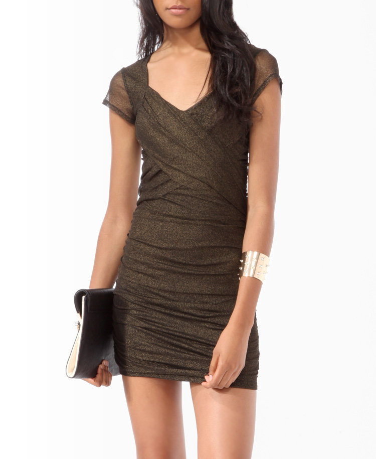 Ruched Metallic-Blend Dress