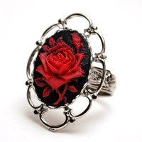 Red Rose Cameo set in Vintage Ring base - blood red romance on the dark side...