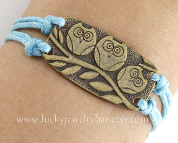 antique bronze owl bracelet, three owl on the branch bracelet. blue wax cords bracelet