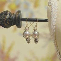 Bali Style Silver Earrings - Chunky Beaded Dangle Earrings in Tones of Silver