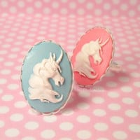 Fairy Tale Princess Ring Unicorn Cameo White Scalloped Setting : Pick - A - Ring