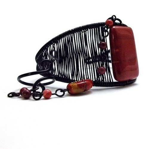 Black Wire Wrapped Cuff Bracelet Ring Combo with Red Mookaite Gemstone