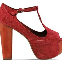 Jeffrey Campbell Foxy Wood in Wine Suede at Solestruck.com