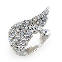 1PCS new arrival Vintage Rhinestone Angel Wing Cocktail Ring free shipping