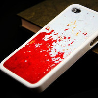Grunge red paint hard cover case for iPhone 4 and iPhone 4S