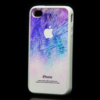 Rubber Case Watercolor soft purple and blue case with white apple logo for iPhone 4 and iPhone 4S