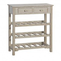 Shabby Wine Rack with Drawers - Grey