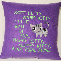 The Big Bang Theory inspired Soft Kitty Song Embroidered Pillow Case Cover