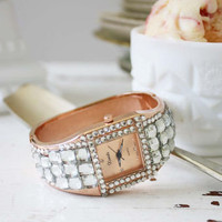 Rose Gold &amp; Glitter Watch, Women&#x27;s Sweet Country Inspired Jewelry