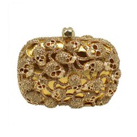 Golden Tone Skull Heads Embellishment Clutch