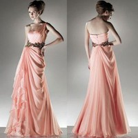 elegant one-shoulder pink chiffon evening dress,party dress,evening gown,formal dress