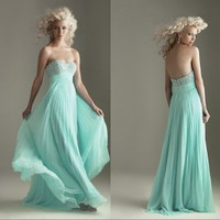 Cheap hot sell blue chiffon evening dress prom dres girls party dress