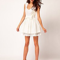River Island Sequin Panel Skater Dress at asos.com