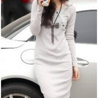 Women Light Grey Wool Blends Round Neck Oblique Button One Size Dress @H4125lg