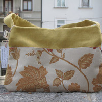 Sunny yellow handbag, handmade from high quality Spanish upholstery - unique