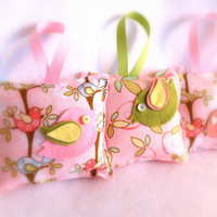 Baby Sachets, Nursery, Birds Pink Whimsical set of 3 Baby Powder Scent