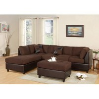 Huntington 3-pcs Sectional Sofa Set w/ Ottoman Reversible in Chocolate Color