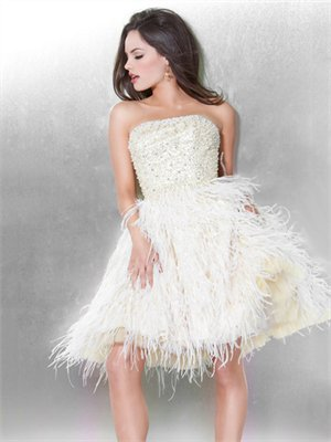 Strapless A-line Beaded Ivory Mini with Feather Prom Dress PD0667