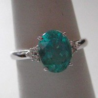 Apatite Rings Diamond 14k White Gold Neon Apatite - Genuine Gemstone