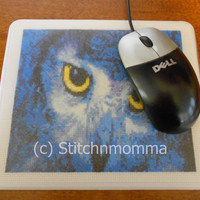 Electric Blue Owl Cross Stitched Mouse Pad