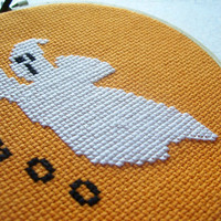Glow-in-the-Dark Ghost Cross Stitched Wall Art or Ornament