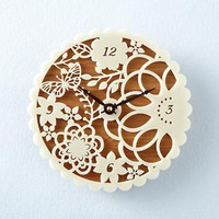 The Land of Nod: Kids&#x27; Clocks: Bamboo Decorative Wall Clock in Clocks