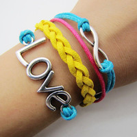 Adjustable Yellow and Blue rope infinity karma love bracelet women girl bracelet  1145S