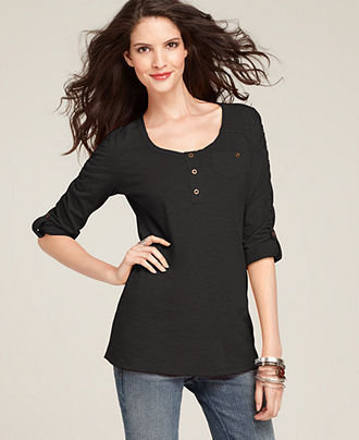 Style&co. Top, Three Quarter Sleeve Henley Tunic Tee - Womens Sale & Clearance - Macy's