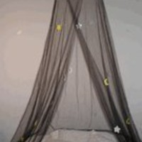 Crib - Twin Bed Canopy Mosquito Net (Black-MoonandStar)