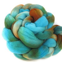 Hand Dyed Roving  - Turquoise, Orange, Brown, Rust - Four Ounces