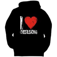 I LOVE Cheerleading Sports Mens Hoodie (Black, Sizes X-Small XXX-Large)