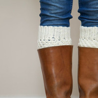 Crochet Boot Cuffs in Cream - Vanilla Cream Boot toppers - Leg warmers - Boot Socks
