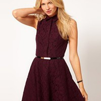 Oasis Contrast Lace Fit &amp; Flare Dress at asos.com