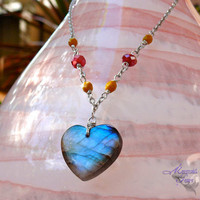 Labradorite Heart Necklace - Hawaiian jewelry, blue flash gemstone for brides by Mermaid Tears Hawaii