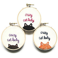 Crazy Cat Lady Embroidery Hoop - Fun Cute Brown Kitty Animal Lover Home Decor or Christmas Holiday Ornament