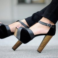 Julietta Black Block Heel Pumps