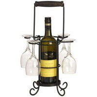 Alfresco Wine Bottle and 4 Glass Holder