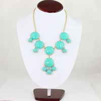 Lake blue Bubble Bib Necklace,Bubble Necklace, Bubble Jewelry 6 Stone Bubble Necklace (FN649 )