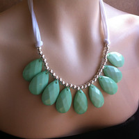 Single Strand Briolette Bib Statement Necklace Chunky Large Mint Seafoam Green, Stormy Seas Anthropologie, Perfect Storm