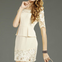 Crochet Montage Apricot Dress [NCSKX0333] - $81.99 :