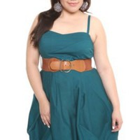 Teal Bubble Hem Dress with Belt | Dresses