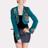 GREEN STYLISH EMBROIDERED SEQUENCE BOLERO @ KiwiLook fashion