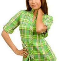 LIGHT-GREEN PLAID TUNIC @ KiwiLook fashion