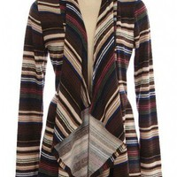 BLACK STRIPE PRINT DRAPED KNIT CARDIGAN @ KiwiLook fashion