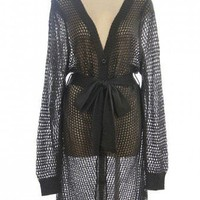 CHARCOAL AFISHNET SWEATER KNIT CARDIGAN @ KiwiLook fashion