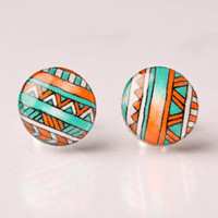 Tribal Print in Orange and Teal Post Earrings