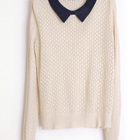 Doll Collar Beige Sweater$43.00