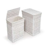 Badger Basket Two Hamper Set with Liners, White