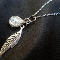 Feather Leaf Crystal Fried Marble Nature Necklace