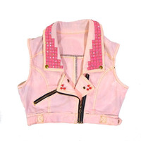 Pink Pentagram Denim Vest